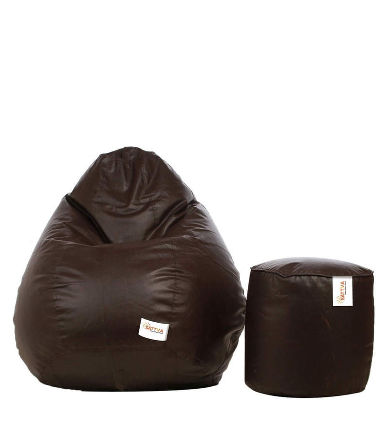 Combo Classic XXL Bean Bag & Round Footstool with Beans in Brown Colour by Sattva