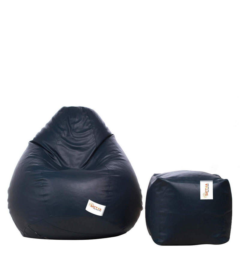 Combo Classic XXXL Bean Bag & Square Footstool with Beans in Navy Blue Colour by Sattva