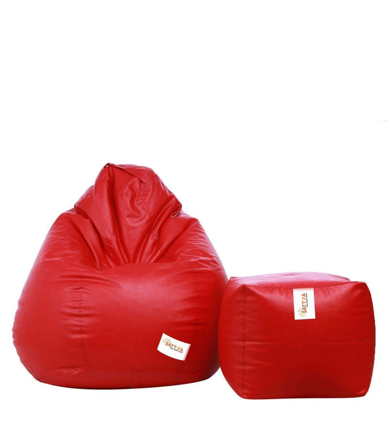Combo Classic XXXL Bean Bag & Square Footstool with Beans in Red Colour by Sattva