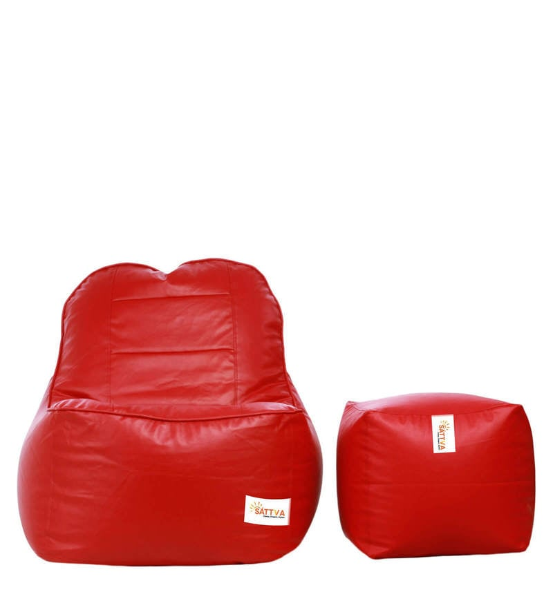 Combo XXXL Rester Bean Bag & Foostool with Beans in Red Colour by Sattva