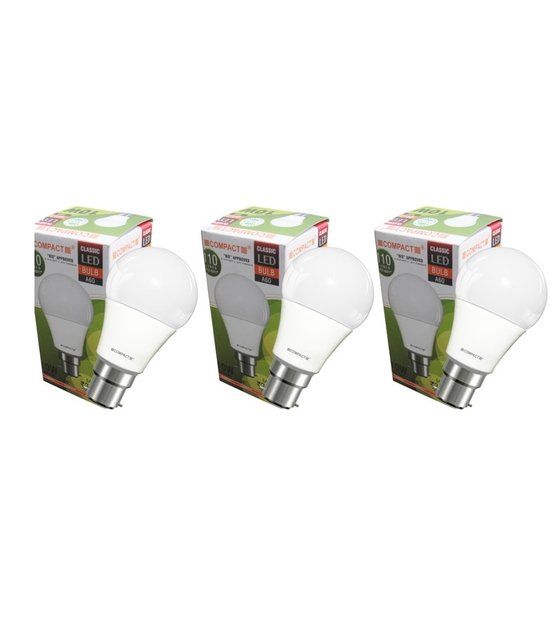 Compact Warm White 10-Watt LED Bulbs - Set of 3