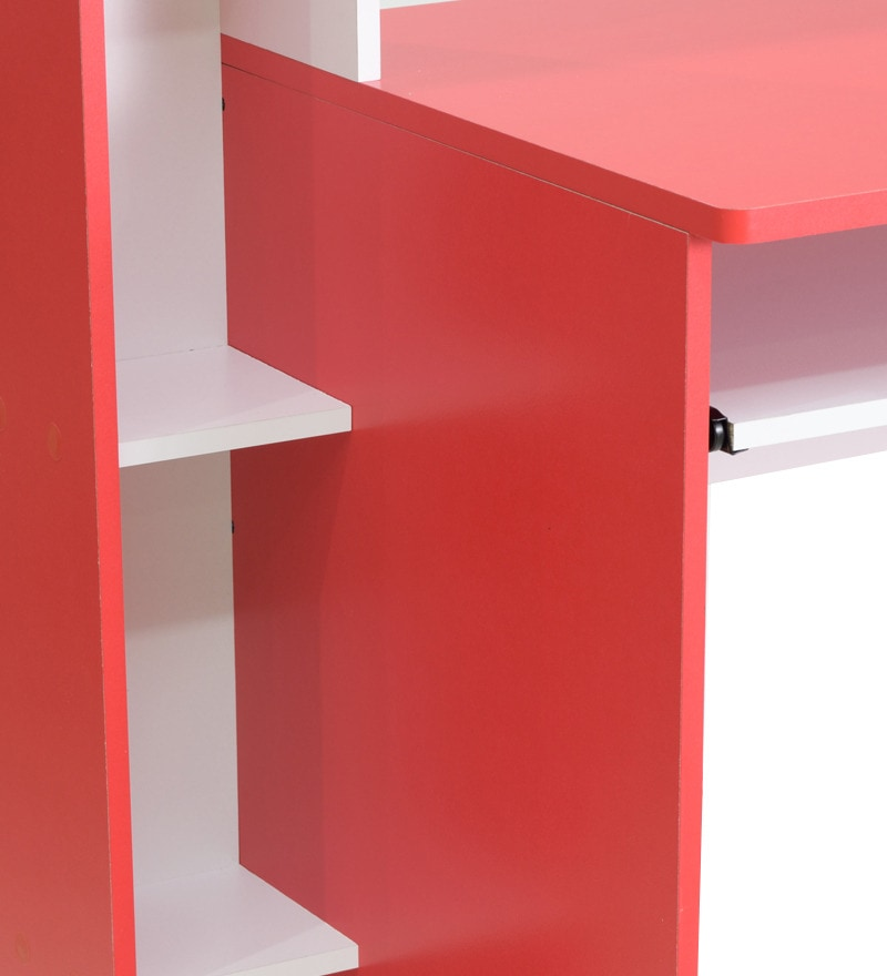 Buy Ayakio Computer Table In Red And White Finish By