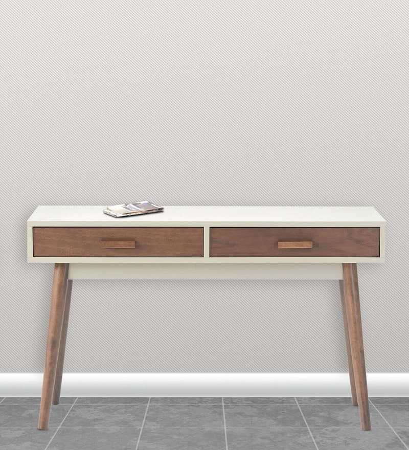 Console Table in White & Light Walnut Finish by Marco
