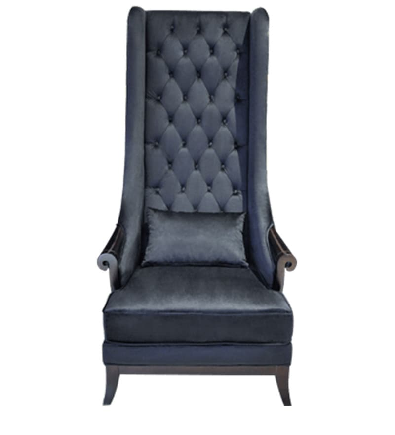 Buy Contemporary High Back Wing Chair In Black Color By