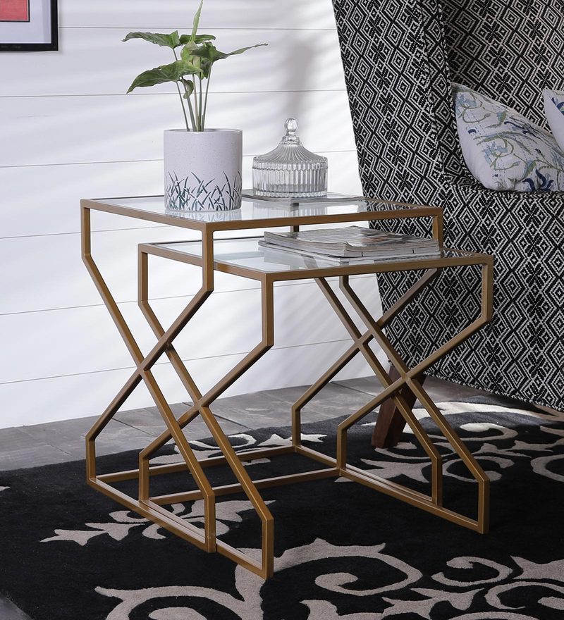 Contemporary Nesting Table (Set of 2) with Golden Base by Asian Arts