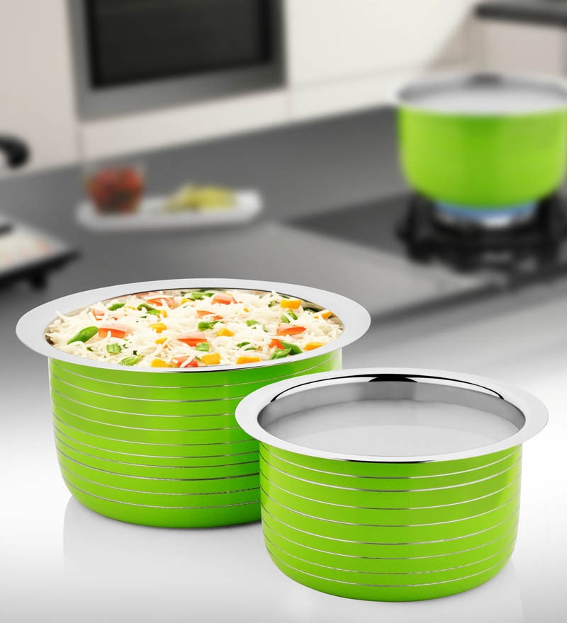 Green Stainless Steel Patila - Set of 2 by Cookaid Elite