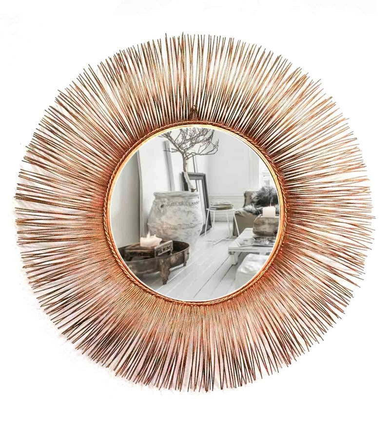 Copper Glass and Metal Leron Wall Mirror by Venetian Design