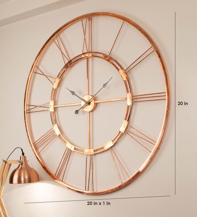 Buy Copper Finish Metal 20 Inch Wall Clock By Craftter