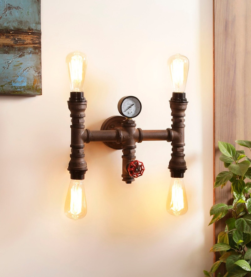Copper Metal Carlon Wall Mounted Light by Jainsons Emporio