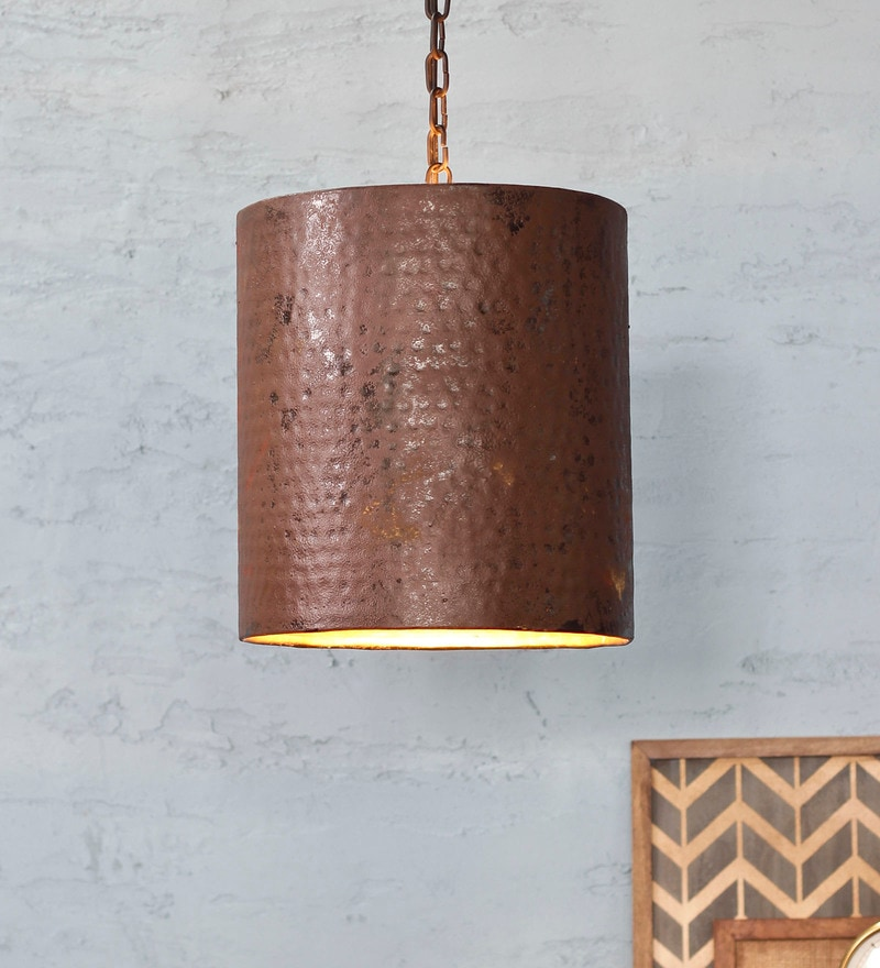 Copper Metal Rustic Clift Pendant Lamp by Fabuliv