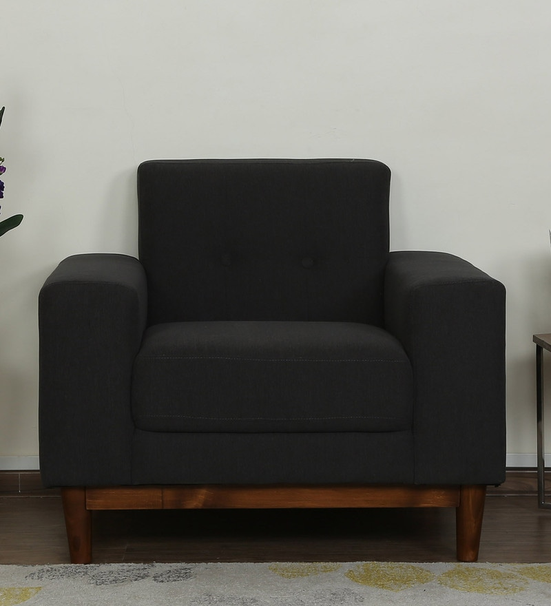 Cordoba One Seater Sofa in Charcoal Grey Colour by CasaCraft