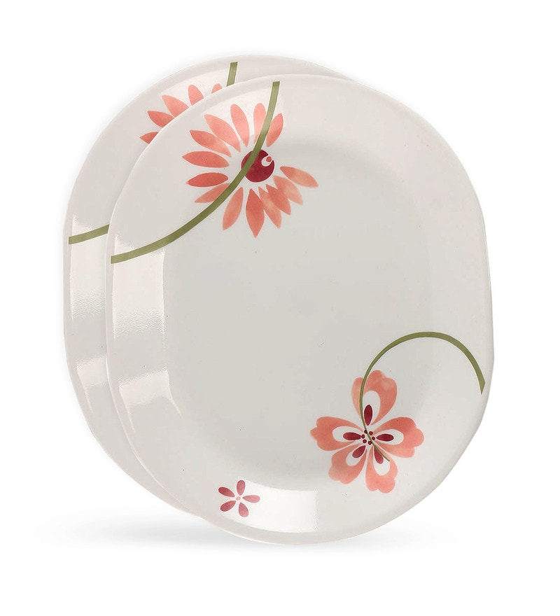 Corelle Asia White and Floral Red Print Oval Vitrelle Glass Serving Platter Set