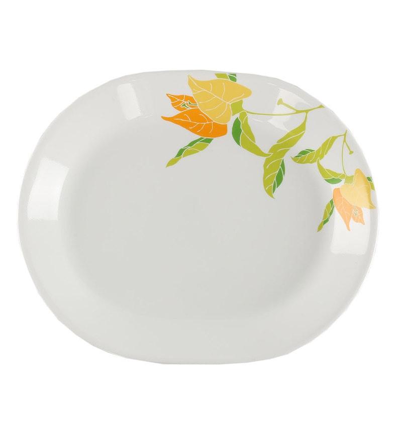 Corelle India Collection Autumn Leaves Vitrelle Glass Platter