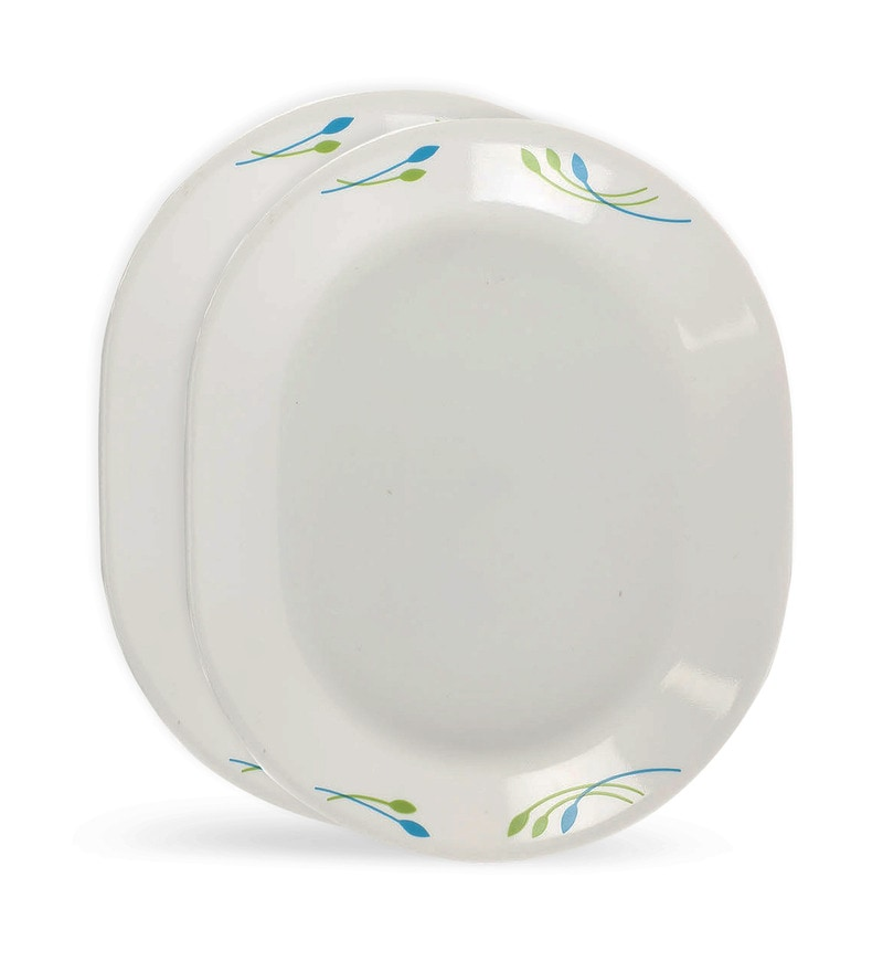 Corelle India Impressions Rainbow Blue and Green Vitrelle Glass Oval Serving Platter Set