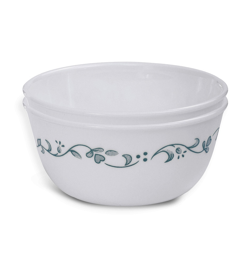 Corelle Livingware Country Cottage White and Green Vitrelle Glass 828 ML Curry Bowl Set
