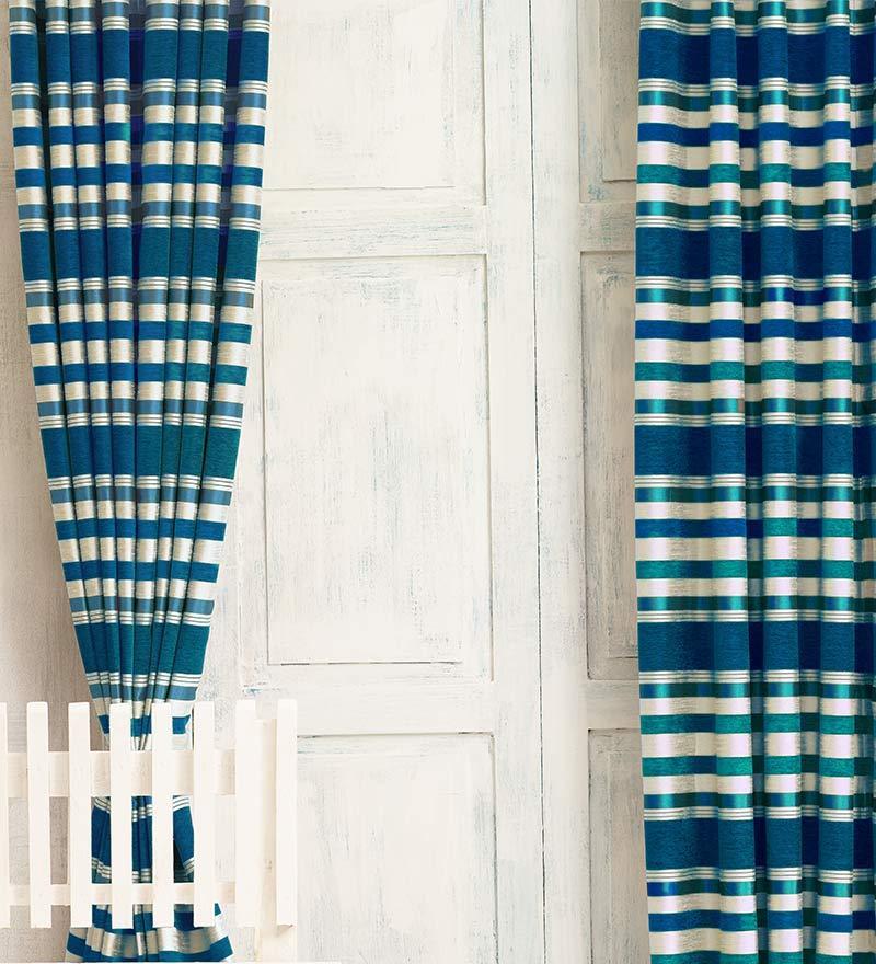 Blue Jacquard Premium Stripes Door Curtain- Set of 2 by Cortina