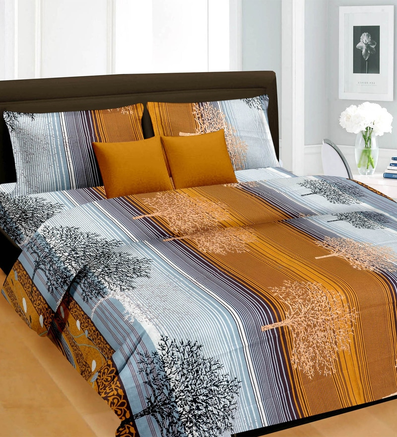 Gray & Yellow Cotton Queen Bed Sheet - Set of 3 by Cortina