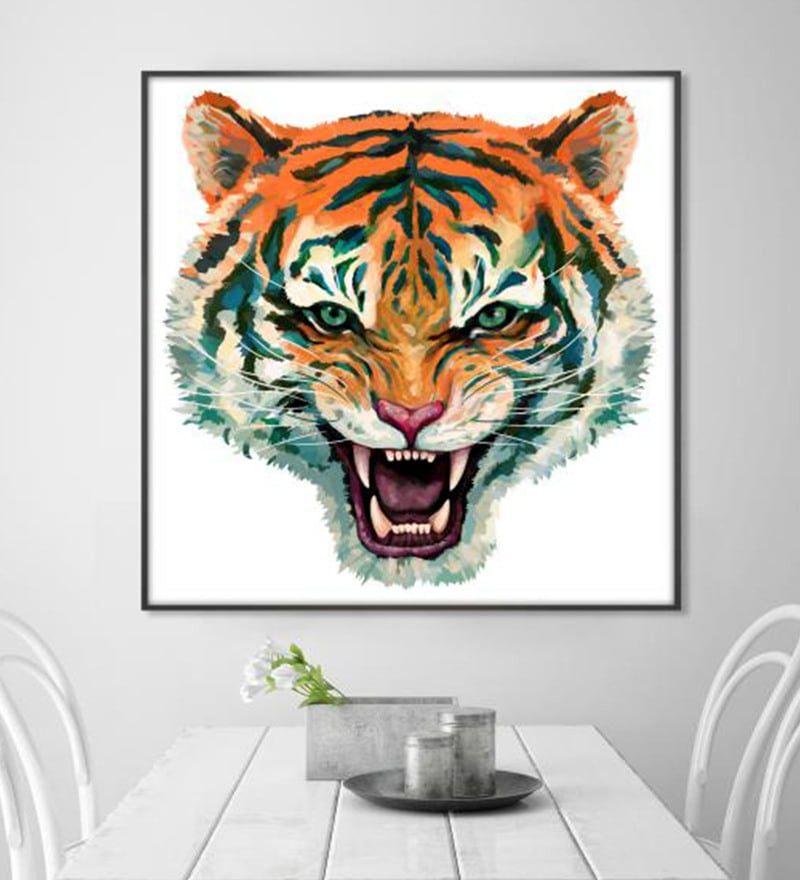 Cotton Canvas 36 x 1.5 x 36 Inch Wild Tiger Face Framed Digital Art Print by Cotton Canvas