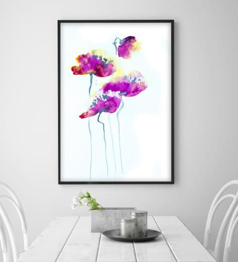 Cotton Canvas 36 x 1.5 x 60 Inch Poppy Flowers Framed Digital Art Print by Cotton Canvas