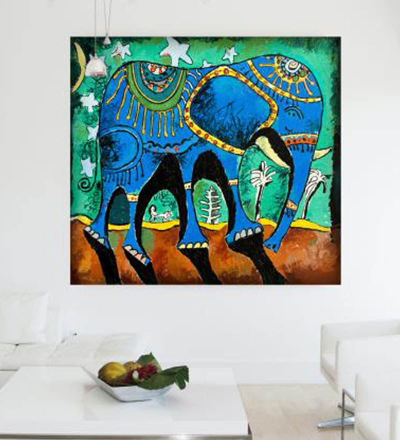 Cotton Canvas 48 x 1.5 x 48 Inch Elephant Framed Digital Art Print by Cotton Canvas