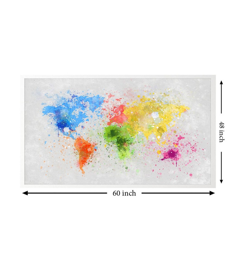 Buy cotton canvas 60 x 15 x 48 inch world map multicolour framed click to zoom inout gumiabroncs Images