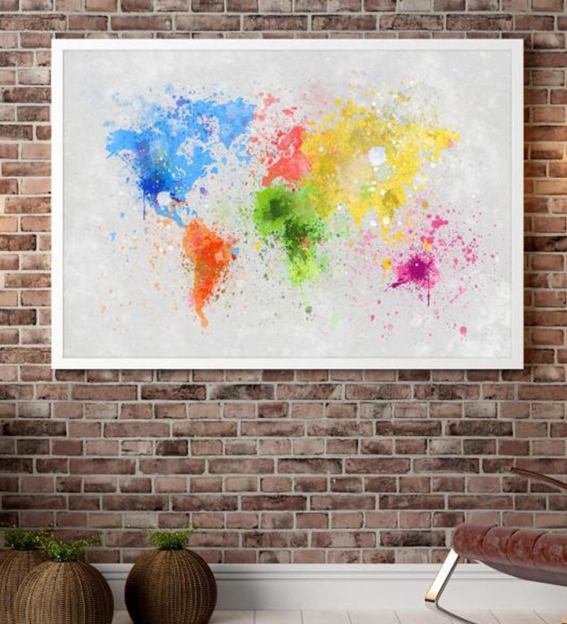 Cotton Canvas 60 x 1.5 x 48 Inch World Map Multicolour Framed Digital Art Print by Cotton Canvas