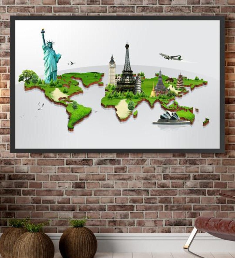 Cotton Canvas 72 x 1.5 x 48 Inch Travel The World Framed Digital Art Print by Cotton Canvas