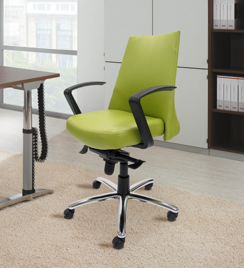 County Ergonomic Chair in Green Colour by Chromecraft