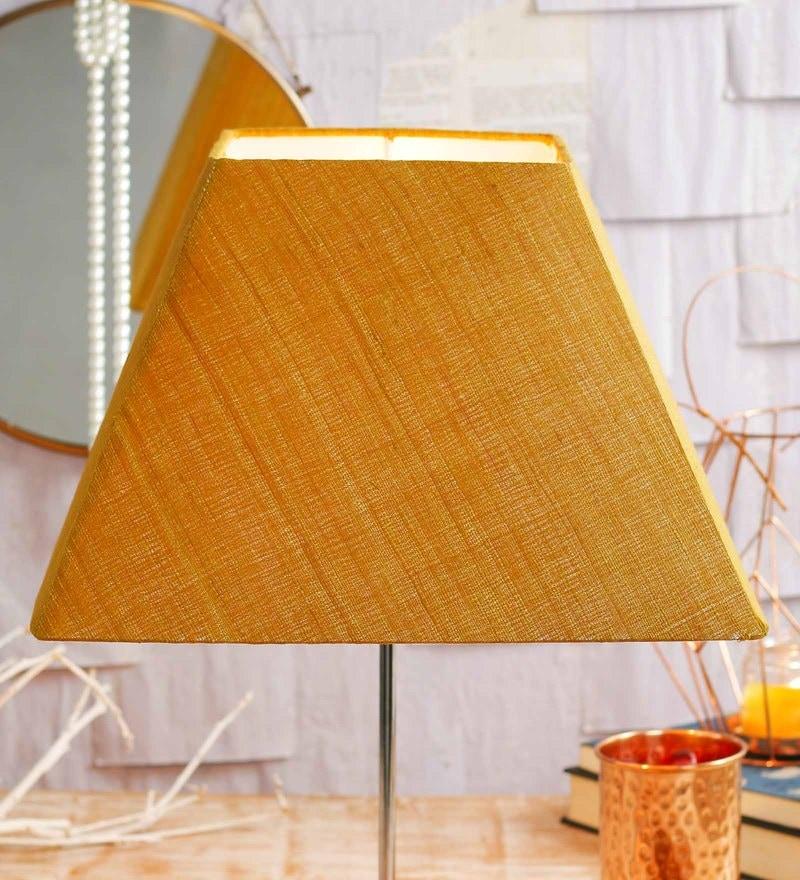 Buy Dark Yellow Acrylic Fused with Cloth Textured Floor Lamp Shade ...