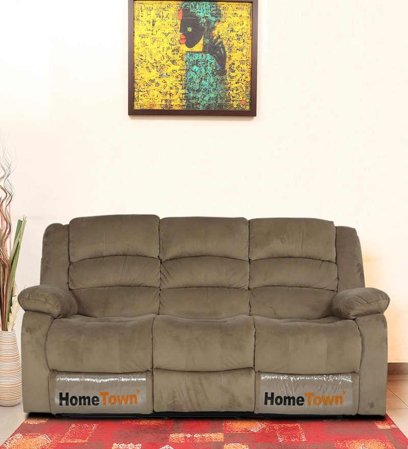 Cove Three Seater Sofa with Two Manual Recliners in Mocha Colour by HomeTown