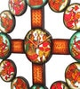 Multicolour Wooden 18 Inch Round Handmade Phad Painting Clock by Cocovey