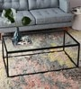 Coffee Table with Black Metal Frame & Clear Glass Top by Asian Arts