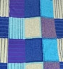 Cortina Blue Satin Striped & Checkered 100 x 90 Inch Bed Sheet (with Pillow Covers)
