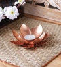 Copper Iron Lotus Single Table Tea Light Holder by Courtyard
