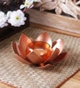 Copper Iron Lotus Tea Light Holder by Courtyard
