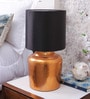 Courtyard Moksha Table Lamp in Copper Foil Base And Black Shade