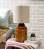Shikara Ocher Table Lamp with White Texture Shade by Courtyard