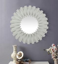 Cream Plastic Decorative Sun Shape Wall Mirror