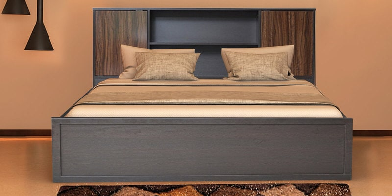 Crysler King Size Bed With Storage In Wenge Finish By Crystal Furnitech