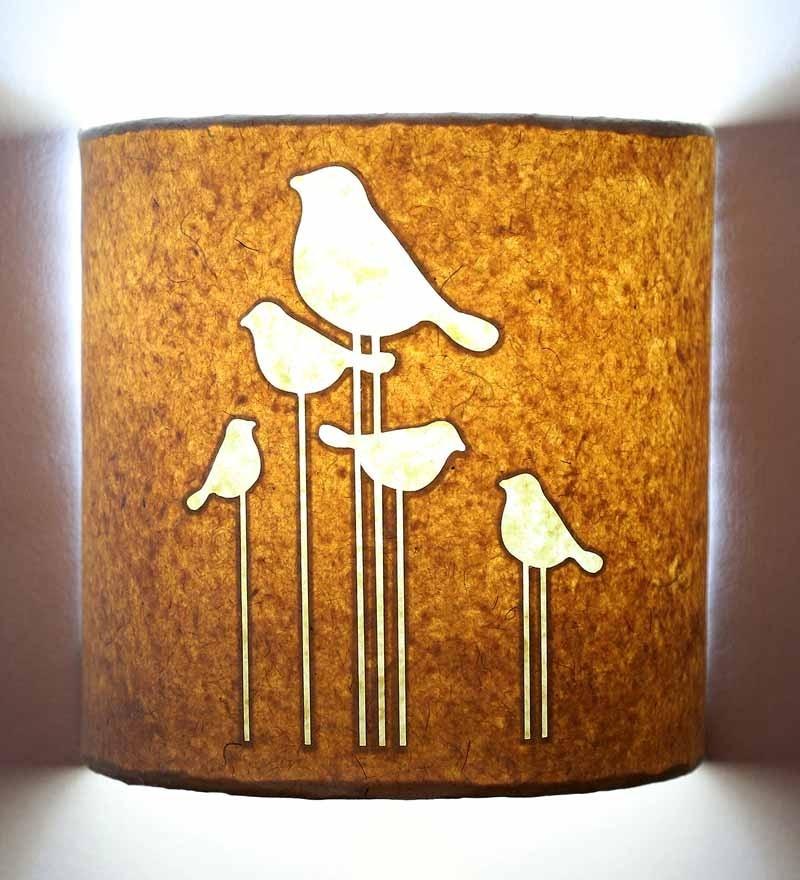 Craftter White Handmade Paper Bird Silhouette Wall Lamp
