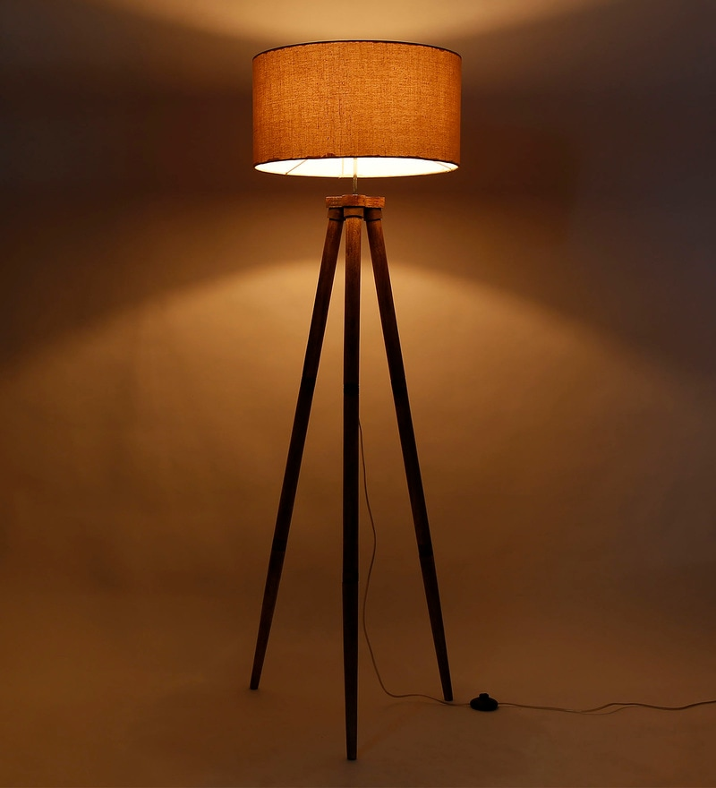 Brown Fabric Tripod Floor Lamp by Craftter