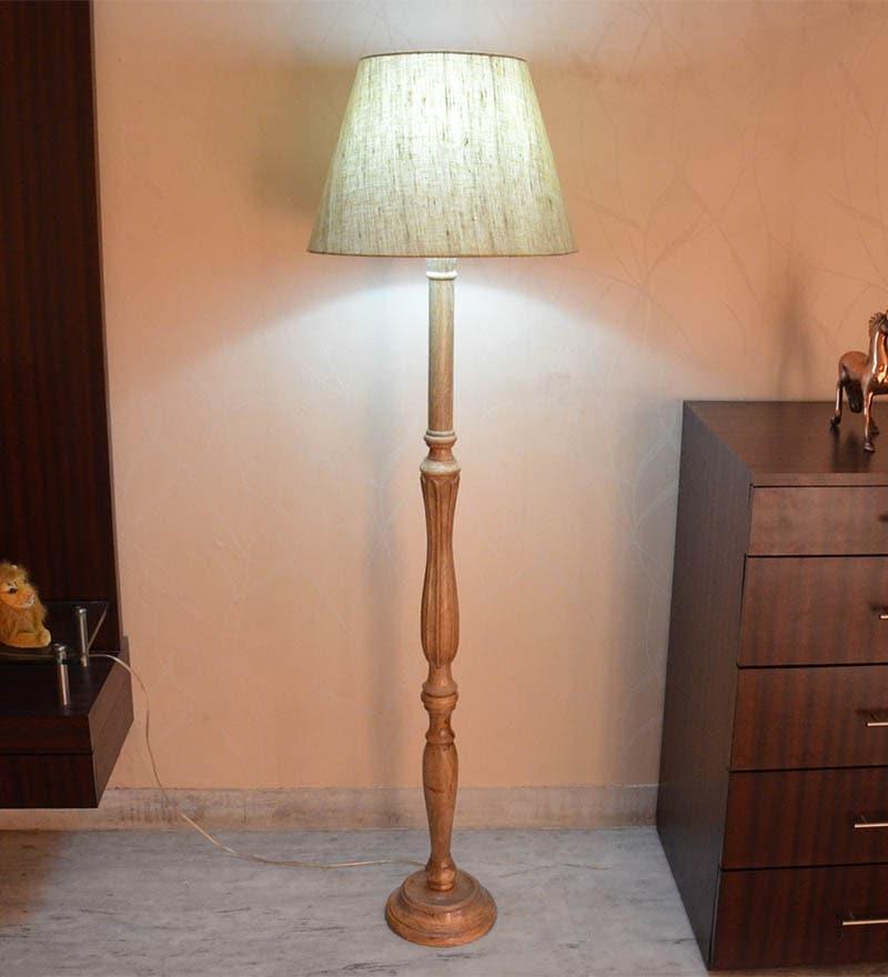 Dark Khadi Wooden Floor Lamp by Craftter