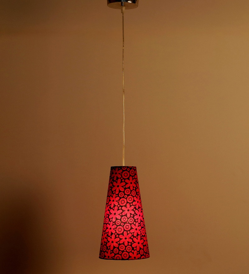 Flowers Design Red Color Hanging Lamp by Craftter