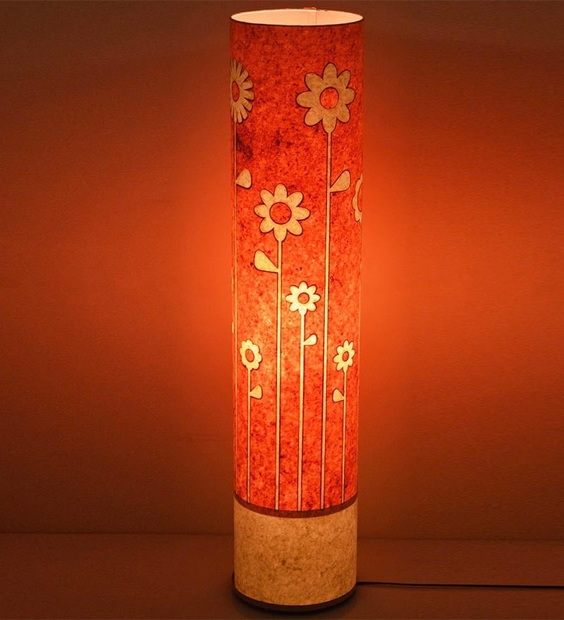 Craftter White & Pink Acrylic & Metal Flowers Floor Lamp