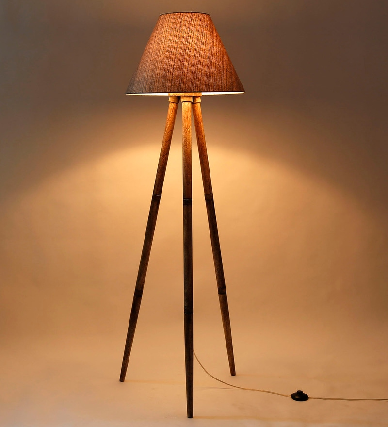 Grey Fabric Tripod Floor Lamp by Craftter