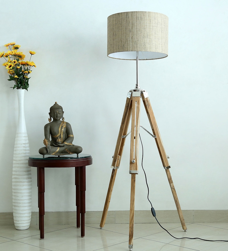 Handloom Dark Textured Grey Fabric Tripod Floor Lamp by Craftter