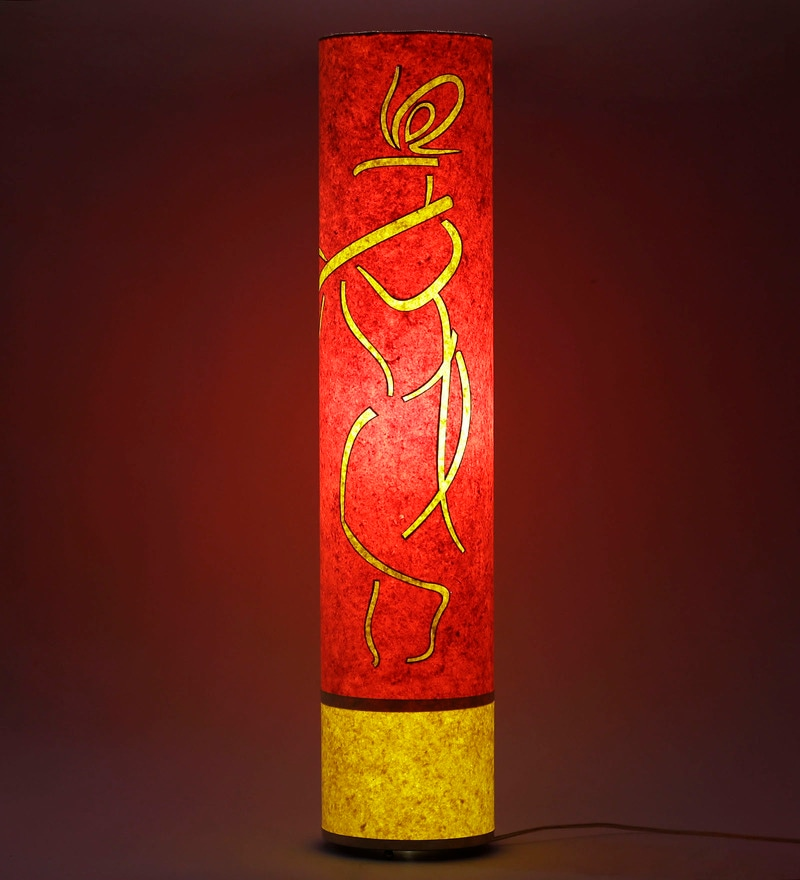 Krishna Orange & Yellow Acrylic & Handmade Paper Floor Lamp by Craftter