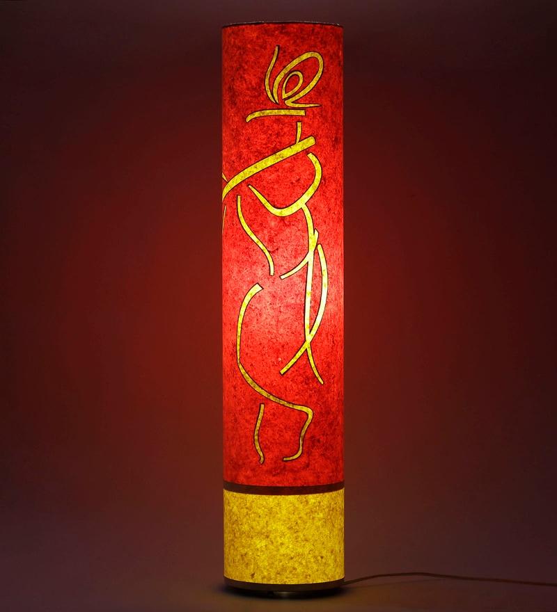 Krishna Orange & Yellow Acrylic & Handmade Paper Floor Lamp by Craftter