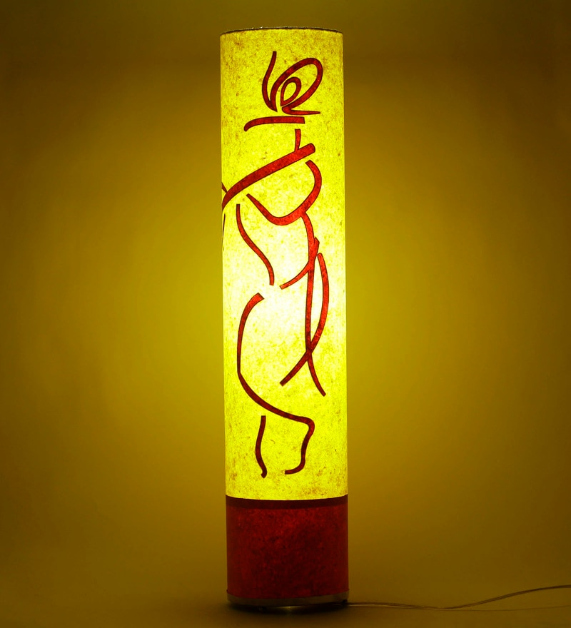 Orange & Yellow Acrylic & Handmade Paper Krishna Floor Lamp by Craftter