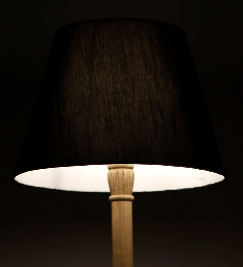 Black Acrylic Fused with Cloth Plain Floor Lamp Shade by Craftter